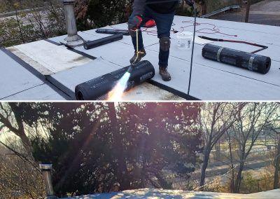 Elgin Flat Roof Replacement Tear Off begins